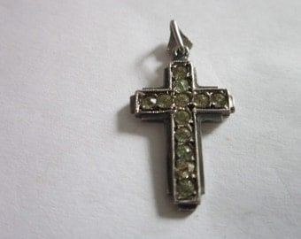Antique Christian Cross Silver & Rhinestones Necklace Pendant
