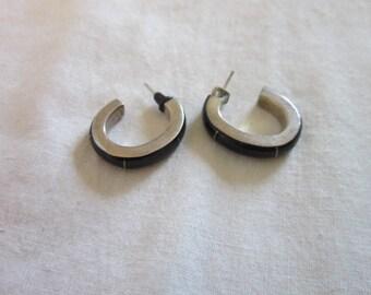 Vintage Sterling Silver Enameled Hoop  Earrings for Pierced Ears