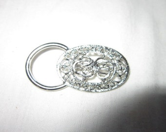 Vintage Filigree Silver Tone Fancy Brooch