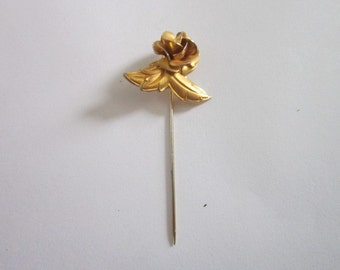 Vintage Gold tone Rose & Leaf Stickpin