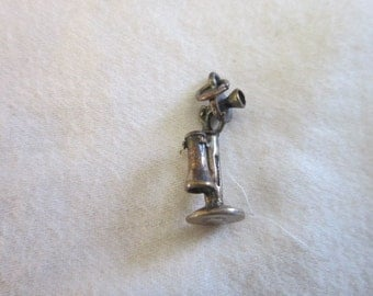 Antique Sterling Silver Candlestick Telephone Charm Bracelet Charm
