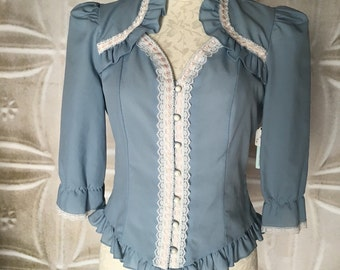 1970s 1980s slate blue white lace button down top