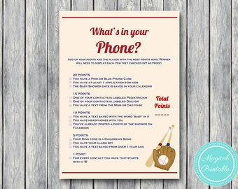 What's in your phone, cell phone game, Vintage Baseball Baby Shower Game Printables, All Stars, baseball theme, Baby Shower TLC130