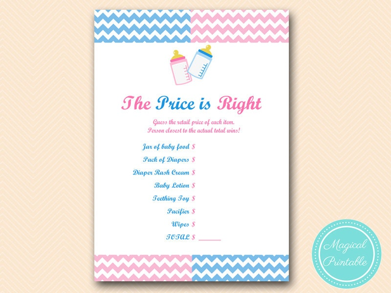 price is right baby shower game ideas