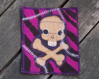 unique handmade purple stitched Skull and Crossbones deathrocker halloween patch