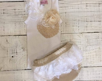 Baby girl singlet heaven sent handmade baby girl singlet bloomer nappy cover set gift lace flower doilie size 0 negle Image collections