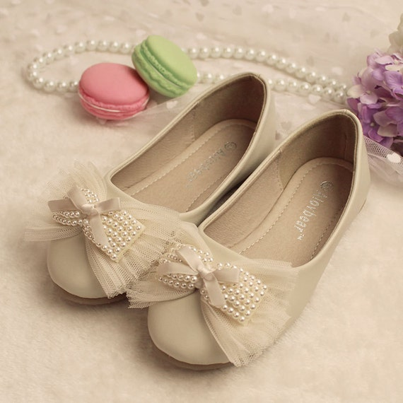 Ivory Flower Girl Shoes Bow Toddler Girl Shoes Pearl Lace