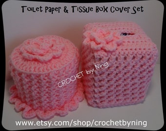 Custom Toilet Paper & Tissue Box Cover Set, Crochet Toilet paper cover, Crochet Kleenex tissue box, Home Bath Decor, Handmade Gifts for Her