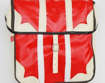 Colourful Oil Cloth Waterproof Bike Pannier - Red and White