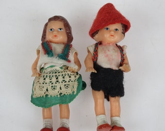 Set of Two Miniature German Dolls - Vintage Girl and Boy Dolls - Small Dolls