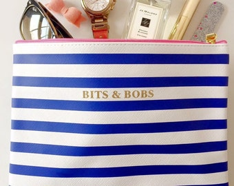 Blue stripe Bits & Bobs Make up bag with gold trim and pink zip detail. Birthday, gift, mum, sister, auntie, beauty