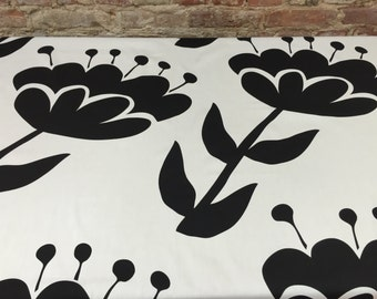 Tablecloth white with large black flowers,modern tablecloth, Scandinavian design