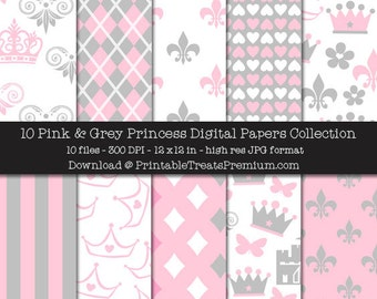 Pink & Grey Princess Digital Paper Pack