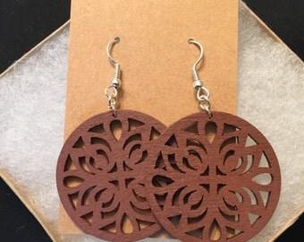 Wooden Lotus Earrings
