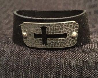 Black Leather Hammered Cross Bracelet