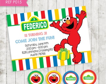 Elmo Invitation-invitation birthday Elmo - square Sesame-FREE Tags