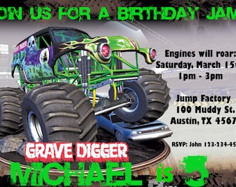 Printable MONSTER JAM Grave Digger Birthday Party Invitation Digital File DIY Print Your Own