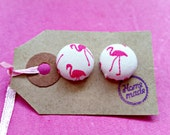 Flamingo Earrings| Fabric Covered| White and Pink| button earrings| gift for her| teen gift| stocking filler| animal lover| animal jewellery