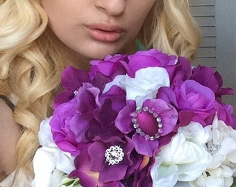 Purple Hydrangea Wedding Bouquet/Brooches and Bling
