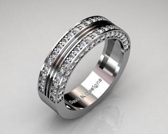 Modern French 14K White Gold 80 Preset Diamond Mens Wedding Ring R1041-14KWGD