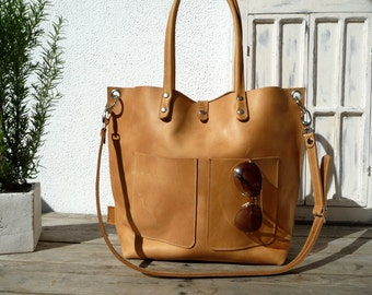 Leather tote, women leather tote, tote bag, distressed leather, naturel leather, cowhide leather, Emma Frontpocket - camel!