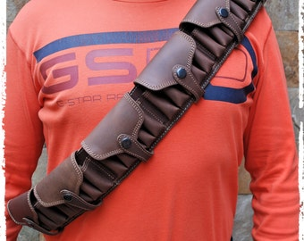 Shoulder holsters bandolier,  12 gauge shells, Flap over the cartridges, Leather Bandolier with loop extension, custom, genuine leather,