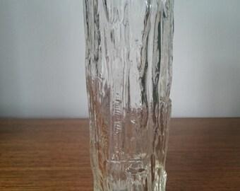 Ravenhead bark effect clear glass vase