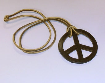 Vintage 70's Leather Peace Sign Necklace