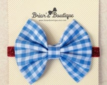Dorothy bow headband; Blue/white gingham fabric bow on red glitter headband; Wizard of Oz costume; Dorothy baby; baby, toddler, or girl