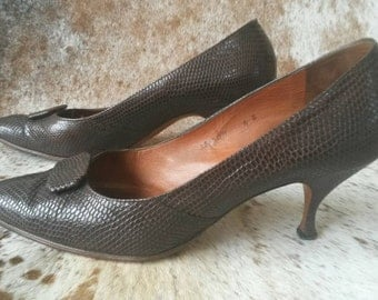 1950's Brown Lizard Skin Heels, By Brown's of Chester UK3.5