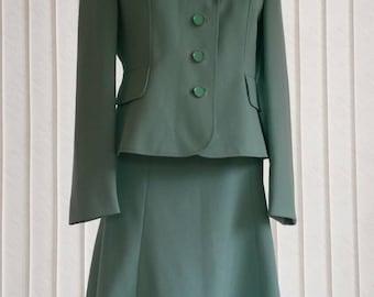 1950's Mint Green Windsmoor Skirt and Jacket. Mad Men 50s Two Piece Ladies Suit. Reenactment Wedding Formal Smart