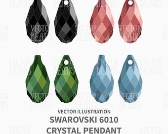 Swarovski 6010 Briolette Pendant Vector Illustration - Beads Vector Graphics - ai, eps, pdf, png