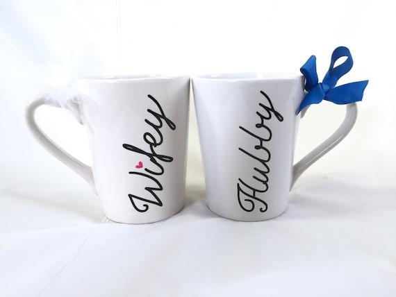 Personalized Wifey & Hubby Coffee mug set, Wedding gift, Bridal shower ...