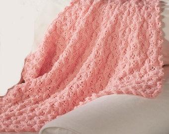 PDF Knitting Pattern Baby Aran knit shawl pattern