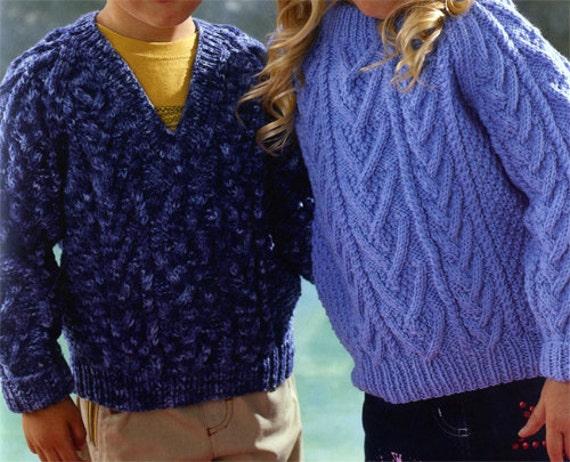 Knitting Pattern For Age : PDF Knitting Pattern Boy and Girls Aran sweater and cardigan knitting pattern...