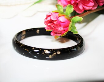 Jewelry - Bracelet in black resin and insertion of gold leaf / / rebel Passion, gift, woman, party, fashion, handmade