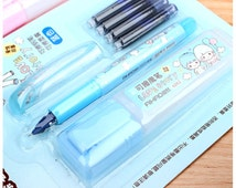 Kawaii Couple Fountain Pen with Ink Refill 1+4 | Kawaii Stationery