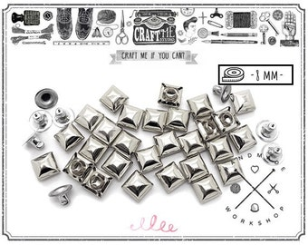 100PCS 8MM SILVER SQUARE DOME Pyramid Rivets Stud Nailhead.