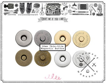 18MM 10SET THIN Magnetic Snaps Button / Metal Plated Magnetic Snaps Closure button Slim magnetic (High Quality)