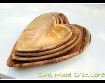 Olive Wood Heart Bowl Set