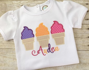 Girls Summer Outfits - Toddler Girl Clothes - Ice Cream Party - Girls Applique Shirt - Embroidered Shirt Girls - Girls Birthday tshirt