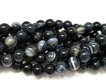 8mm Black Banded Agate Genuine Gemstones Full Strand (49 Beads)