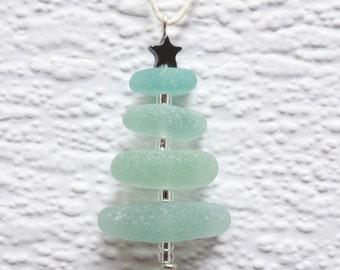 Seafoam seaglass Christmas tree decoration- Seaham seaglass miniature christmas tree, genuine English sea glass stack