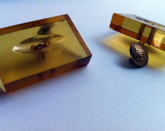 Edwardian Cufflinks, lucite, vintage accessories-Edwardian Twins, lucite, vintage accessories