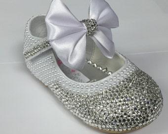 Christening / Baptism / Walking Toddler Shoes / Wedding / Crystal / Pearl / Toddler Walking Shoes