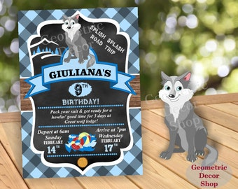 Lumberjack Birthday Party Invite First Birthday Wilderness Blue Plaid Lumber Jack Invitation Rustic Great Wolf Lodge buffalo Boy BDLJ25