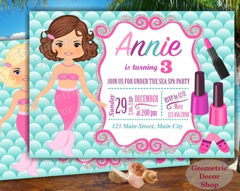 Mermaid Under the Sea Spa Party Invitation, Pool Party, Pool Bash, Birthday Invitation Girl Swimming Spa party Pink teal purple aqua BDM4