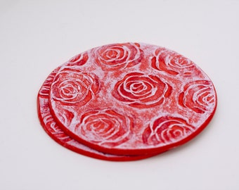 Handmade Ceramic Coasters - Low relief of red flowers- Pack of 2