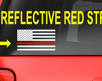 American Flag (T14) Thin Red Line Firefighter Vinyl Decal Sticker Car Window