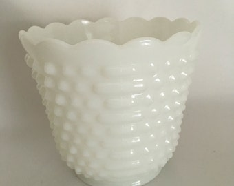 Vintage Fire King Ware Hobnail Milk Glass Vase, Planter With Scalloped Ring 1960's